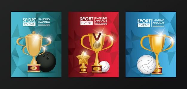 Prêmios de troféu de eventos esportivos pôsteres