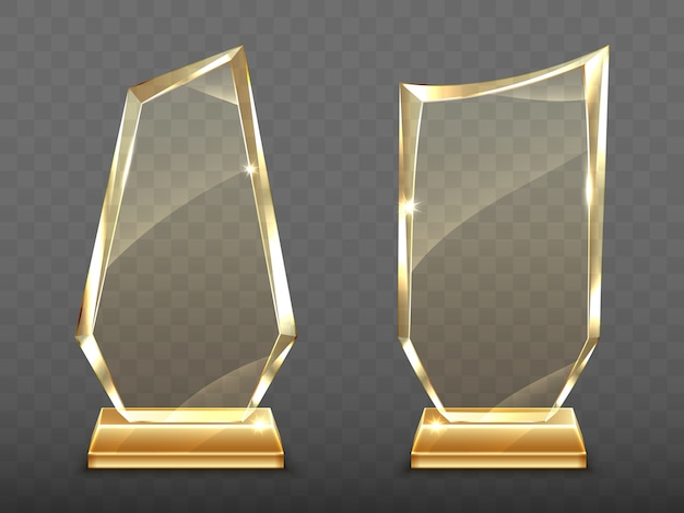 Prêmios de troféu de vidro realista na base de ouro