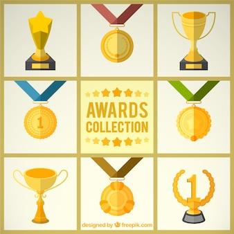 Prêmios dourados em estilo plano