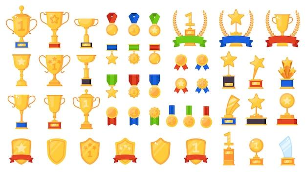 Prêmios e troféus de esportes diferentes, taças de ouro e medalhas por conquistas