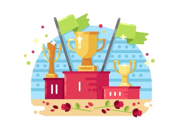 Prêmios esportivos, troféus no pódio. cerimônia de premiação, ilustração vetorial plana