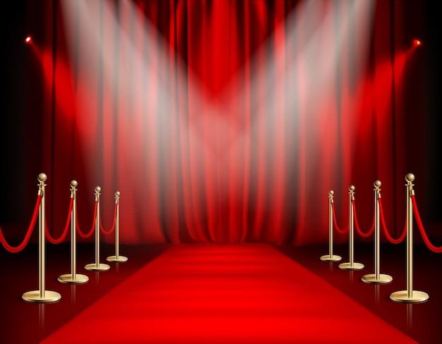 Prêmios mostram caminho de tapete vermelho com ilustração de barreira dourada