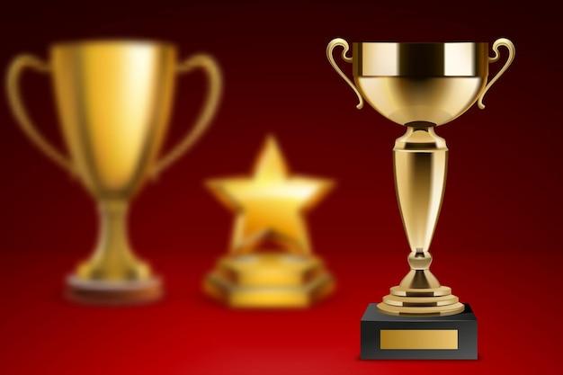 Prêmios realistas com imagens de três diferentes troféus de ilustração