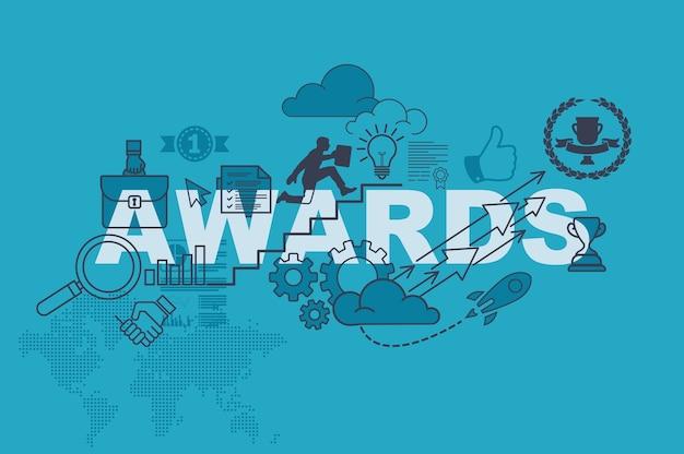 Prêmios site banner conceito com design plano de linha fina