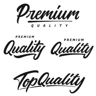 Premium e top quality escritos à mão letras logotipo, etiqueta, emblema, emblema.