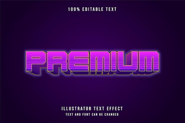 Premium, efeito de texto editável em 3d gradação rosa roxo sombra moderna estilo neon