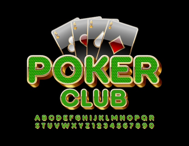 Premium emblem poker club. fonte de luxo 3d. letras e números do alfabeto chique verde e dourado