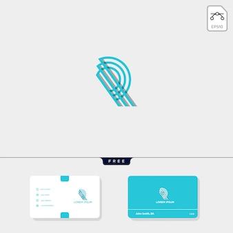 Premium inicial r, modelo de logotipo criativo de contorno rr, modelo de cartão de visita