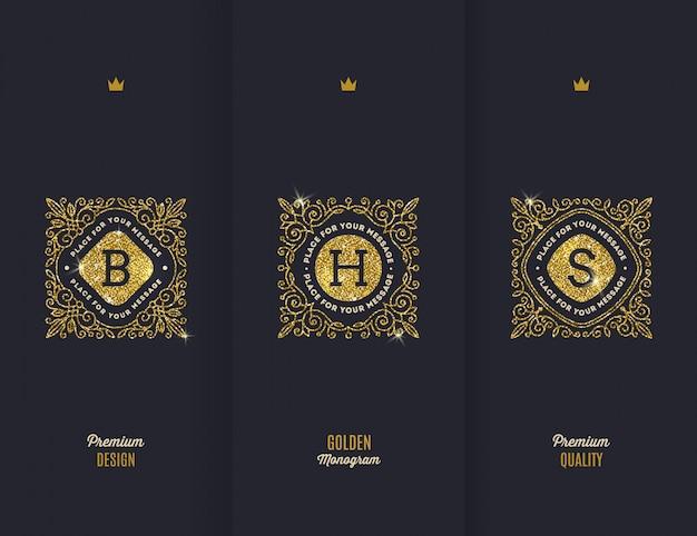 Premium - monogramas de ouro brilhante.