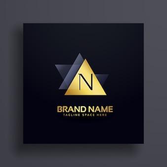 Premiun letter n logo design design em ouro
