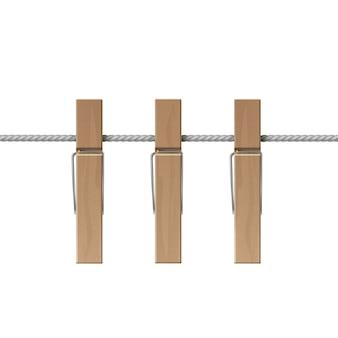 Prendedores de roupa de madeira estacas de corda com vista lateral isolada