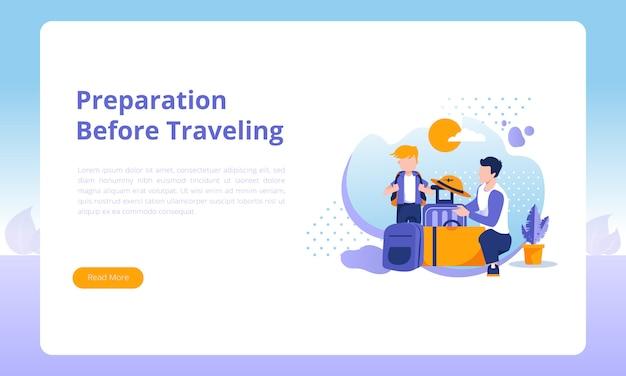 Preparação antes de viajar na página de destino