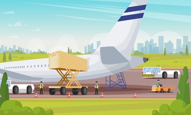 Preparação de avião para embarque de ilustração plana.