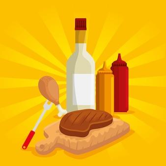 Preparação de carne e coxa com molhos para churrasco