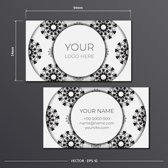 Preparação de cartões de visita preto e branco de vetor com ornamento abstrato. modelo de cartão de visita de design de impressão com padrões de monograma.