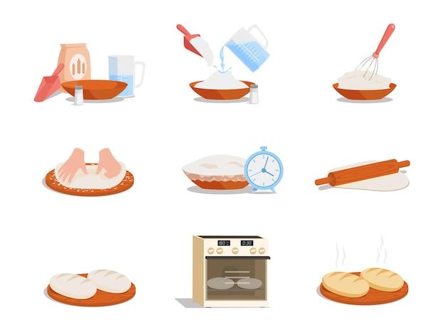 Preparação de pão saboroso passo a passo ilustração plana vetorial
