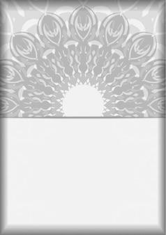 Preparação de vetor de cartão de convite com lugar para o seu texto e enfeites pretos. design de cartão postal pronto para imprimir cores brancas com mandalas.