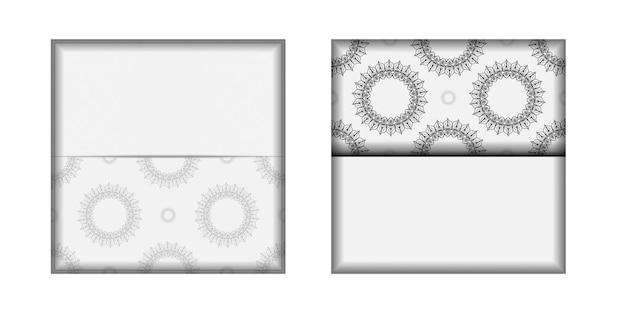 Preparação de vetor de cartão de convite com lugar para o seu texto e ornamento vintage. design de cartão postal pronto para imprimir cores brancas com mandalas.