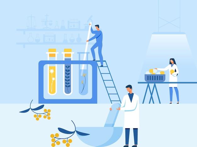 Preparação natural de medicação passo-a-passo no laboratório
