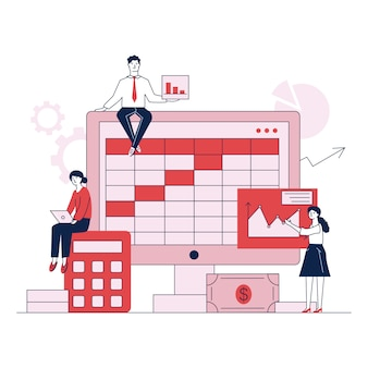 Preparação para ilustração em vetor plana relatório contabilidade