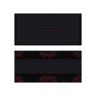 Preparando o cartão de convite com lugar para o seu texto e padrões. modelo de vetor vetorial para imprimir cartões postais de design em cores pretas com padrões gregos.