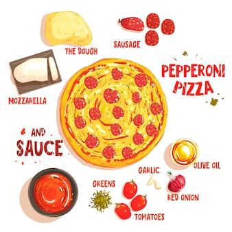 Preparando pizza pepperoni conjunto de ingredientes