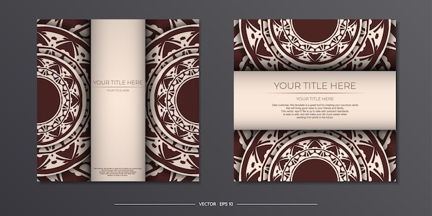 Preparando um convite com um lugar para o seu texto e ornamento abstrato. modelo para imprimir cartões postais de design na cor bege com padrões de mandala.