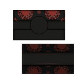 Preparando um convite com um lugar para o seu texto e ornamentos vintage. modelo de vetor para imprimir cartões postais de design em cores preto e vermelho com ornamentos luxuosos.