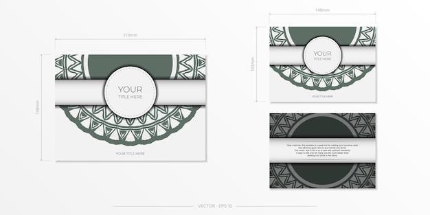 Preparando um convite com um lugar para o seu texto e ornamentos vintage. modelo luxuoso para imprimir cartões postais de design na cor branca com padrões gregos escuros.