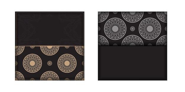 Preparando um convite com um lugar para o seu texto e ornamentos vintage. modelo luxuoso para imprimir cartões postais de design na cor preta com padrões gregos.