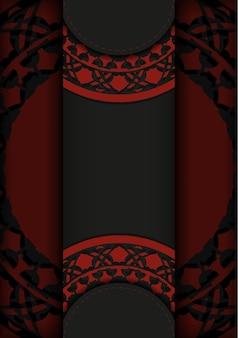 Preparando um convite com um lugar para seu texto e padrões vintage. modelo de vetor para imprimir cartões postais de design nas cores preto e vermelho com padrões de luxo.