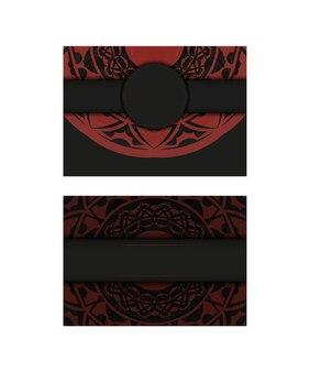 Preparando um convite com um lugar para seu texto e padrões vintage. modelo para design de impressão de cartão postal na cor preto-vermelho com ornamentos luxuosos.