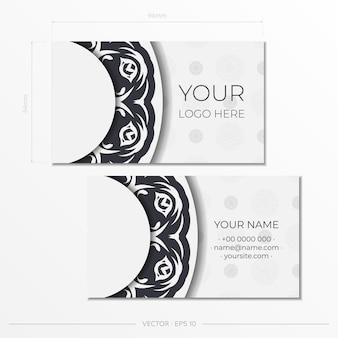Preparar cartões de visita brancos com padrões vintage. modelo de cartão de visita de design de impressão com ornamento de monograma.