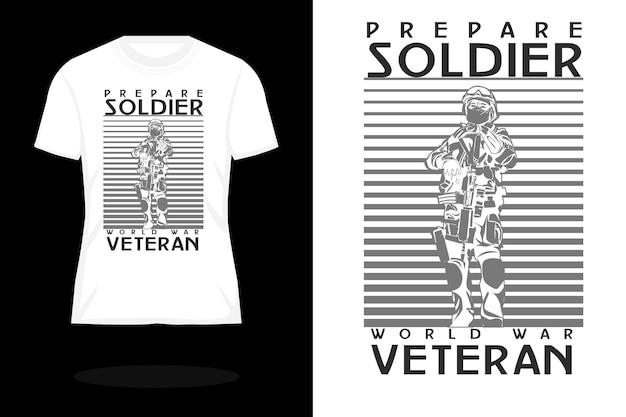 Prepare o design da camiseta vintage da silhueta do soldado