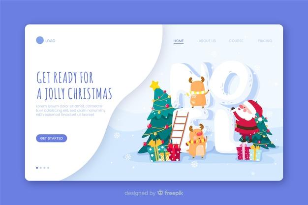 Prepare-se para uma página de destino alegre de natal