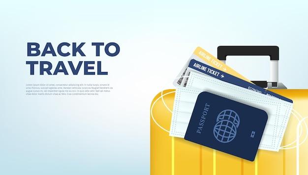 Prepare sua bagagem, passaporte, passagem e máscara para o retorno à viagem. pronto para viajar, de volta ao conceito de banner de viagens.
