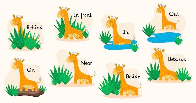 Preposição inglesa com girafa fofa