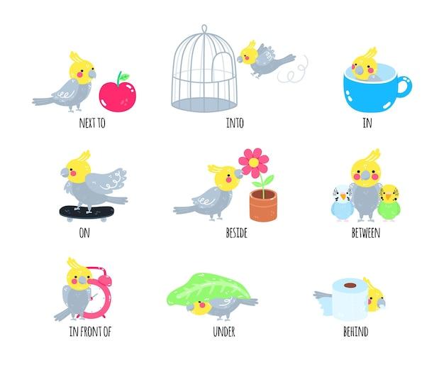 Preposições de inglês para crianças do jardim de infância