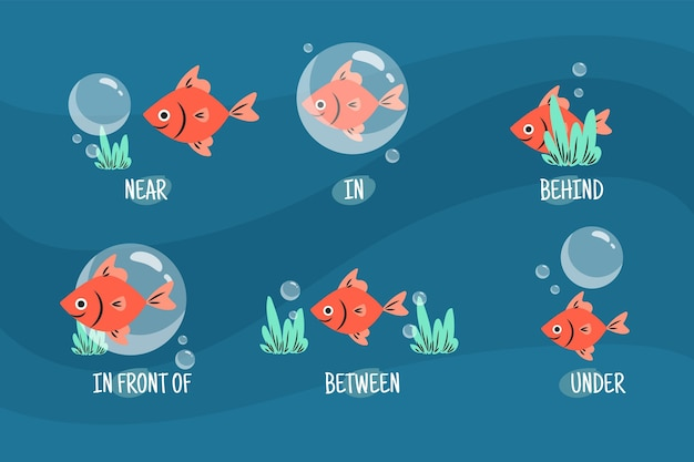 Preposições inglesas com ilustrações de peixes