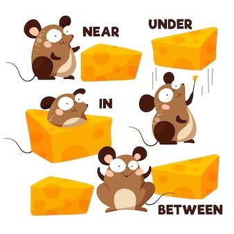 Preposições inglesas com mouse ilustrado