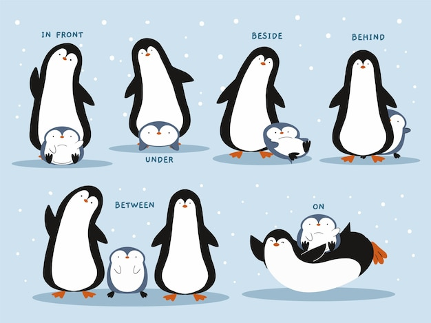 Preposições inglesas com pinguins