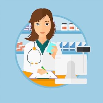 Prescrição de escrita de farmacêutico.