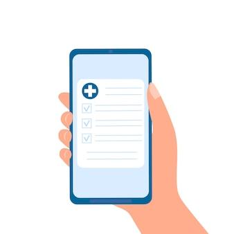 Prescrição de medicamentos ou resultados de exames médicos online mão segurando smartphone com documento de medicamento