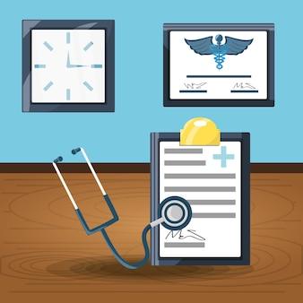 Prescrição diagnóstica com estetoscópio e diploma com relógio