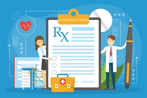 Prescrição médica, médico em pé na prancheta
