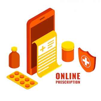 Prescrição online em smartphone com pacote de medicamentos, garrafa e escudo de segurança em fundo branco.