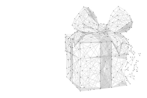 Presente cinza com linha poligonal em fundo abstrato espaço poligonal low poly com pontos de conexão