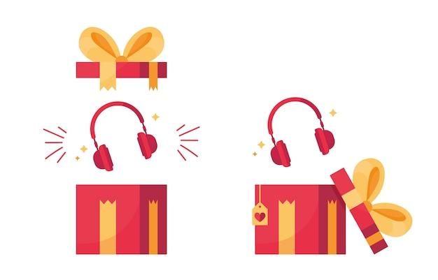 Presente com fones de ouvido como uma caixa aberta e desempacotada para black friday ou cyber monday. vermelho e amarelo