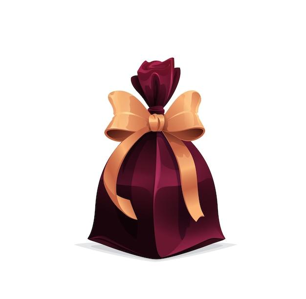 Presente com laço dourado, caixa de férias, saco de presente
