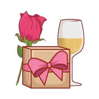 Presente com rosa e taça de vinho